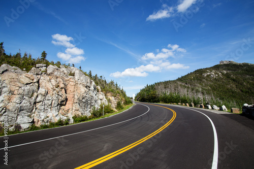 Fotografie, Obraz  Winding road in Adirondack mountains, upstate New York, USA