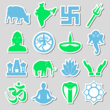 Hinduism Religions Symbols Vector Set Of Stickers Eps10