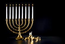Hanukkah Menorah, With A Dreidel And Chocolate Coins