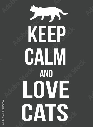 Keep calm and love cats poster Canvas Print