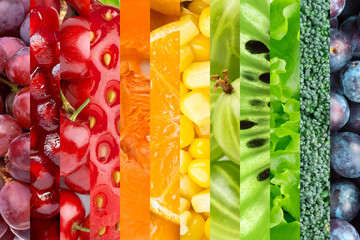 Collage with fruits and vegetables
