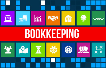 Fototapeta bookkeeping concept image with business icons and copyspace.