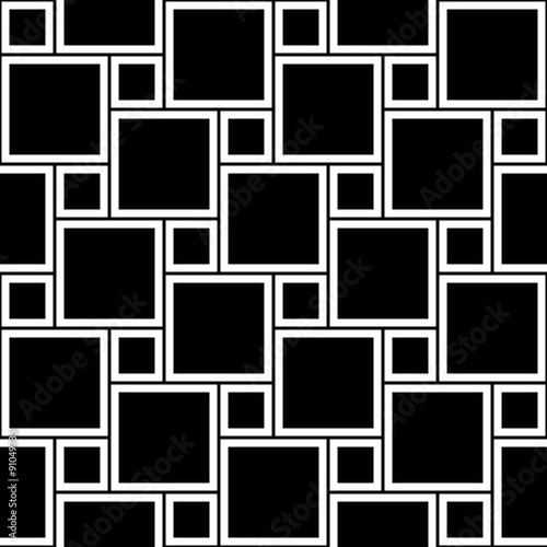 wektorowi-nowozytni-bezszwowi-geometria-wzoru-kwadraty-czarny-i-bialy-abstrakcjonistyczny-geometryczny-tlo-tapetowy-druk-monochromatyczna