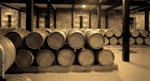 Aged photo of wine cellar - 91050144