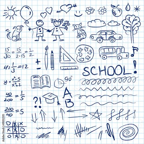 In de dag Boho Stijl Back to school doodles set in notebook. Vector illustration.