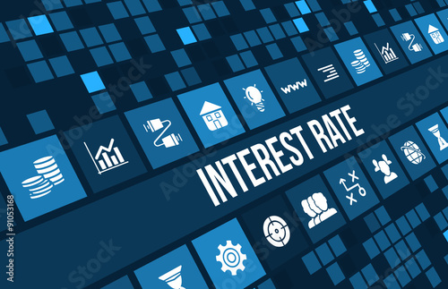 Photo  Interest rate concept image with business icons and copyspace.
