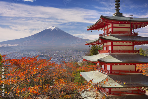 Fototapety, obrazy: Chureito pagoda and Mount Fuji, Japan in autumn