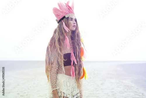 Boho Gypsy young women wearing stylish indian feather hat Poster