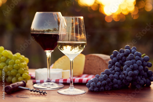 Two glasses of white and red wine плакат