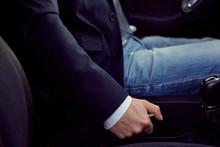 Driver Pulling Handbrake Lever