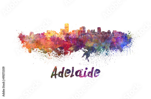 Adelaide skyline in watercolor фототапет