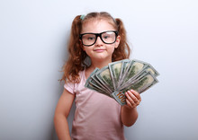 Happy Success Kid Girl In Eye Glasses Holding In Hand American D