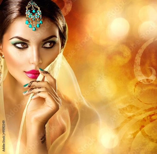 Beautiful Arabic Woman Portrait Arabian Girl With Menhdi Tattoo