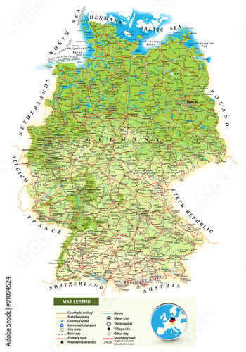 Large detailed physical map of Germany – kaufen Sie diese ...