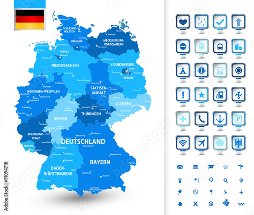Photo  Map of Germany with markers