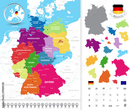 Political map of Germany. Political map of Germany with its fede ...