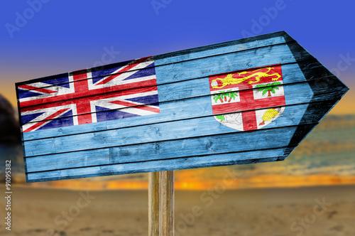 Foto op Canvas Australië Fiji Flag wooden sign on beach background