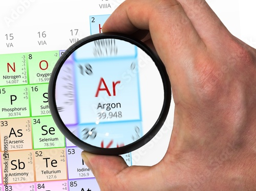 Argon Symbol Ar Element Of The Periodic Table Zoomed With Mag