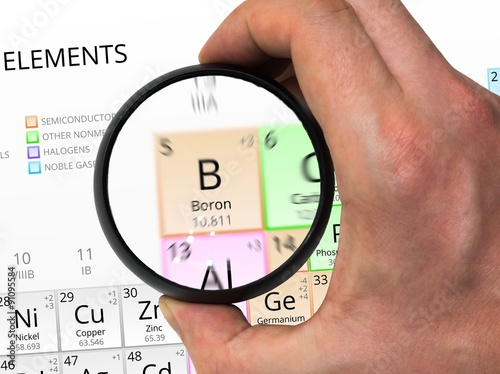 Boron Symbol B Element Of The Periodic Table Zoomed With Magn