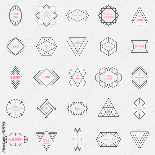 Set geometric signs, labels, and frames Lerretsbilde