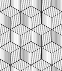 Fototapeta Cube, seamless pattern, vector illustration, outline