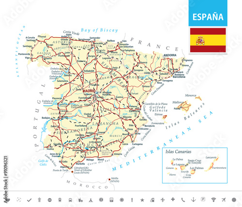 Detailed Map Of Spain.Detailed Map Of Spain Buy This Stock Vector And Explore Similar