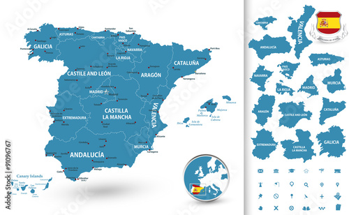 Slika na platnu Map of Spain with regions