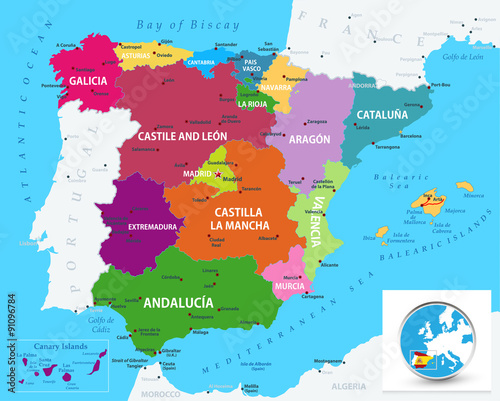 Political map of Spain Wallpaper Mural