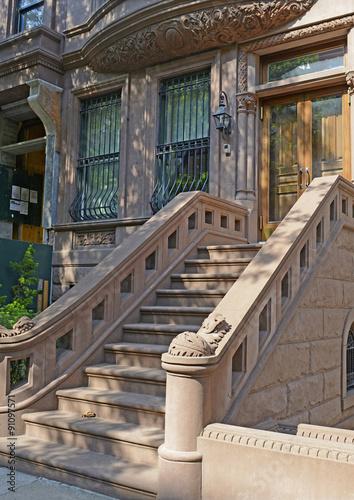 Fotografie, Obraz  Brownstone apartment building facade, New York