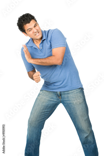 Fényképezés  Man Leaning Body Weight Against Side Object