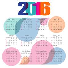 Abstract Colorful Calendar 2016. Vector