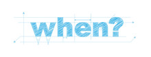 """""""WHEN?"""" Vector Overlapping Letters Icon"""