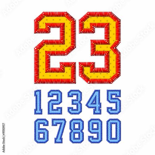 Fotografie, Obraz  Embroidered font numbers
