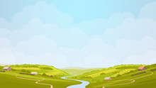 Green Countryside View In The Sun. Summer Day In Village, Fields. Digital Background Raster Illustration.