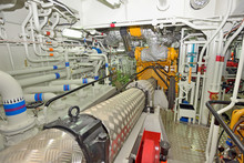 Engine Room On A Cargo Boat