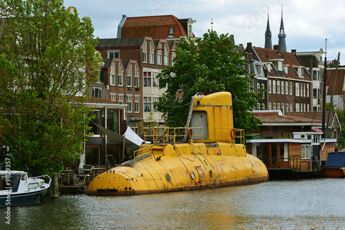 YELLOW SUBMARINE AMSTERDAM CANAL Wallpaper Mural