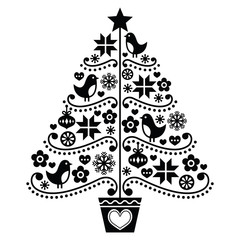 FototapetaChristmas tree design - folk style with birds, flowers and snowflakes