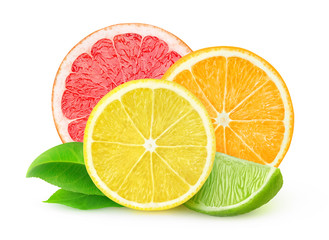 Fototapeta Owoce Slices of fresh citrus fruits isolated on white with clipping path