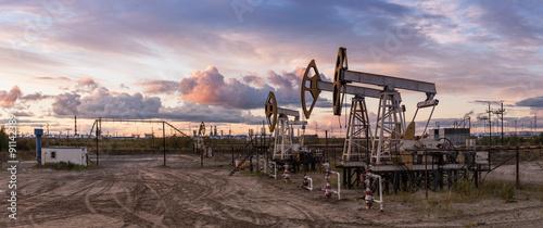 Fototapeta Panoramic oil pumpjack. obraz