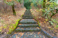 Stone Stairs At Eagle Creek Overlook In Oregon