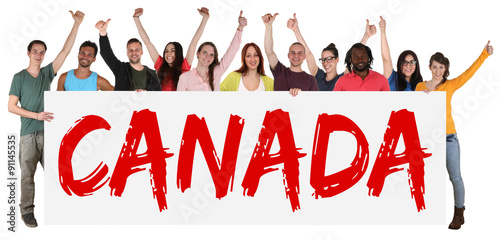 Foto auf Acrylglas Kanada Canada immigration group of young multi ethnic people holding ba