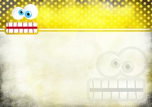 A Digitally Painted Scrappy Note Paper Background Design With A Crazy Cartoon Toothy Face And Yellow Polka Dots.