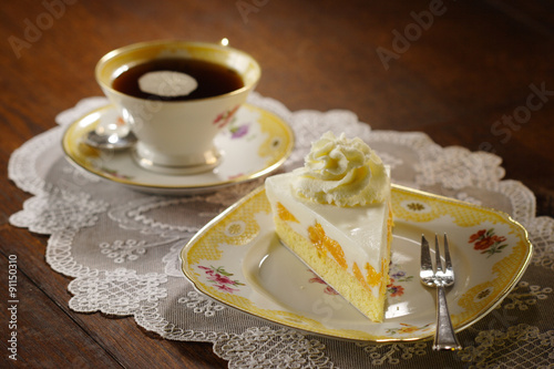 cake with cream and tangerines Canvas Print