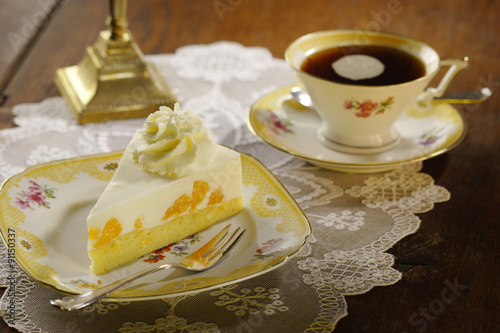 cake with cream and tangerines Wallpaper Mural