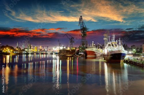 Obrazy na płótnie Canvas View of the quay shipyard of Gdansk, Poland.