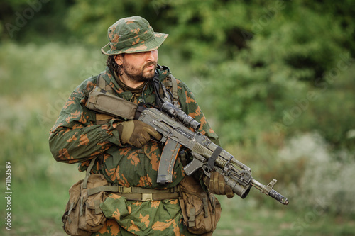 Canvas Print paratrooper airborne infantry in the forest