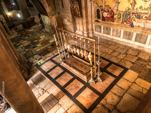 Fotografie, Tablou Stone of the Anointing of Jesus in the Holy Sepulchre, the holie