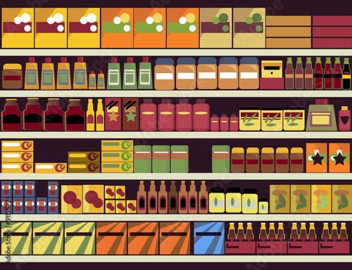 Fotografía  Grocery store shelves filled with canned and boxed goods, ESP 8, no transparenci
