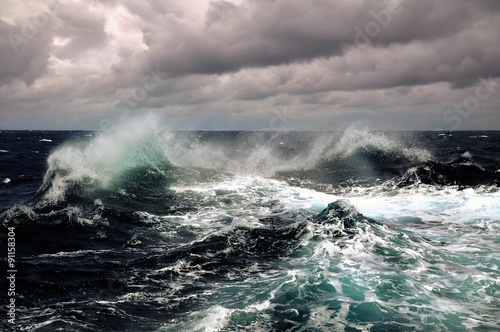 Stickers pour porte Eau sea wave in atlantic ocean during storm