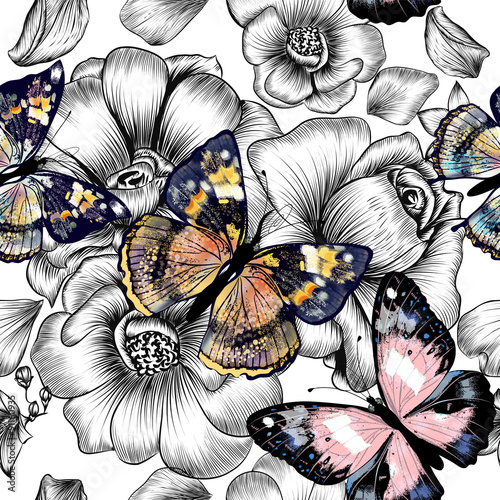 Poster Butterflies in Grunge Vector seamless wallpaper pattern with vintage butterflies and r